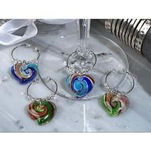 Cassiani Murano Art Deco Collection Heart Design Wine Charms - 24 Sets - $101.29