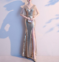 Women Gold Sequin Dress Cap Sleeve High Slit Sequin Maxi Wedding Dress,Plus Size image 2