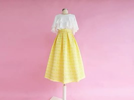Lady Yellow Midi Party Skirt Spring Plus Size Full Pleated Skirt w. Wing Pattern image 2