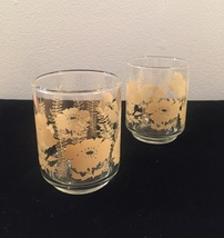 Vintage 70s Libbey Flower and Fern juice glasses- set of 2