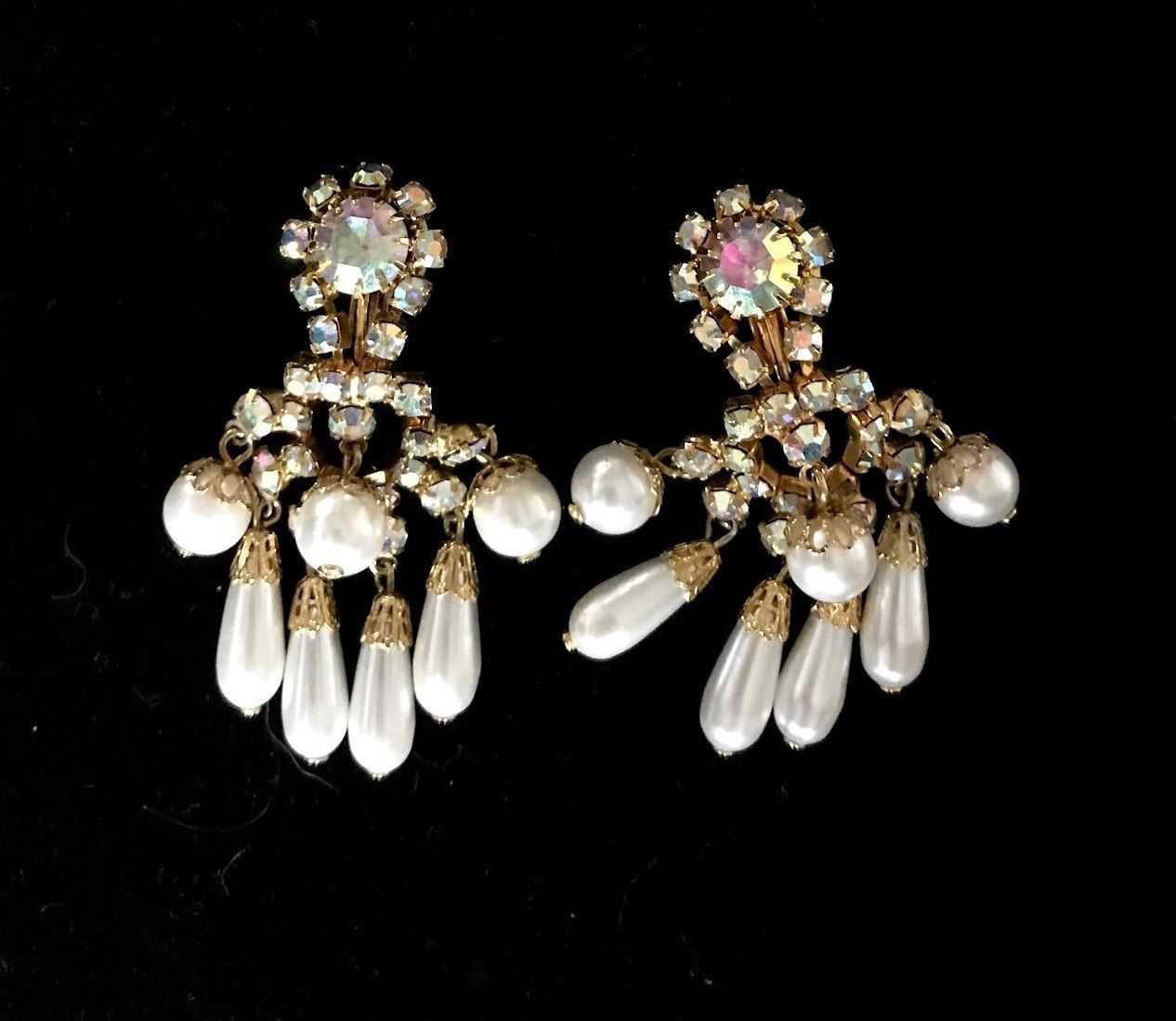 Primary image for Vintage AURORA BOREALIS Rhinestone and Faux PEARL Clip-On Dangle EARRINGS-2 1/4""