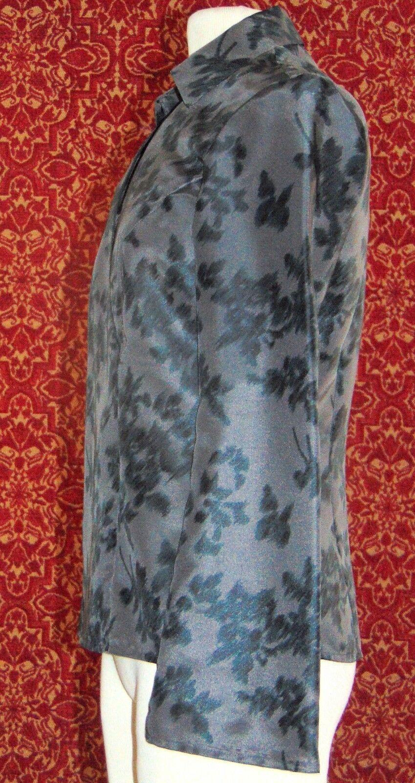 NINE & COMPANY gray polyester long sleeve faux wrap blouse 6 (T07-01I8G) image 4
