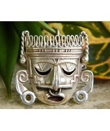 Mexican Sterling Silver Aztec Mayan Mask Brooch... - $59.95