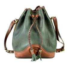 Vtg Dooney Bourke Dark Green Brown Leather Shoulder Bucket Bag Drawstrin... - $94.04