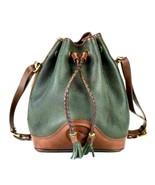 Vtg Dooney Bourke Dark Green Brown Leather Shoulder Bucket Bag Drawstrin... - $94.04