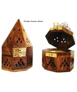 "Wooden Incense Burner with Gold Clasp Wood & Brass ~ 3.2/8"" Wide x 5.5"" ... - $25.00"