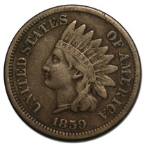 1859 One Cent Indian Head Penny Coin Lot# A 1891