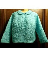 Vintage 1960s Floral Design Quilted Bed Jacket Buttons Blue Sz L Marshal... - $48.46