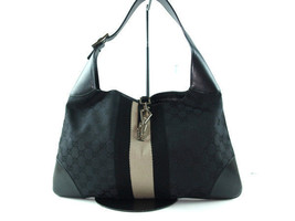 Auth GUCCI GG Pattern Canvas Leather Black Shou... - $187.11