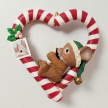 1992 Lustre Fame Mouse Christmas Ornament Candy Cane Heart Love Santa Ha... - $14.99