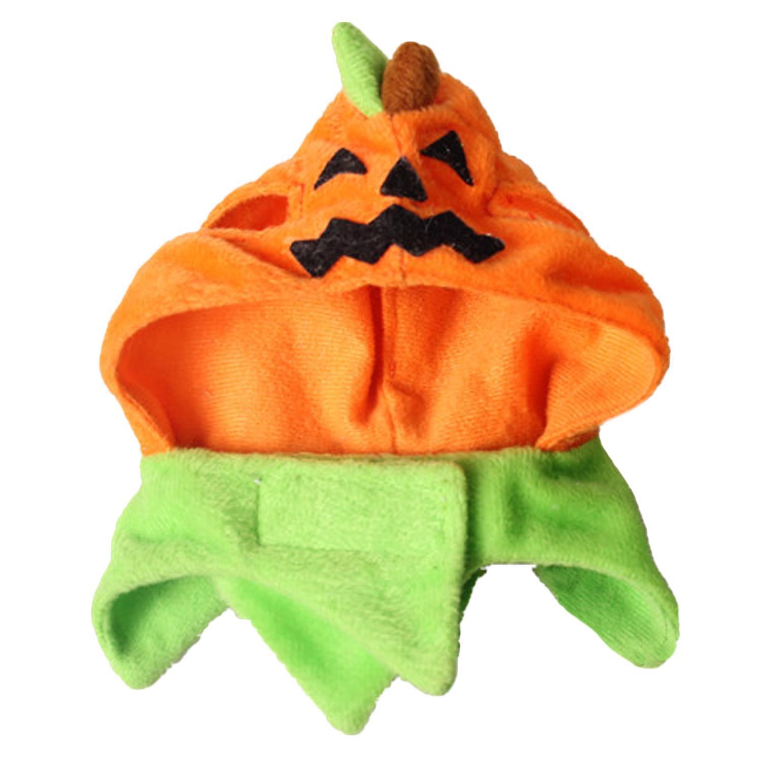 Cute Pumpkin Pet Costume Dress Up Cap Puppy Dogs Cats Halloween Party Decoration