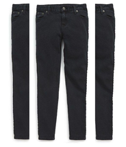 Ralph Lauren Girl's Jemma Tuxedo-Striped Jeans Pants, Black , Size 8,MSR... - $24.74