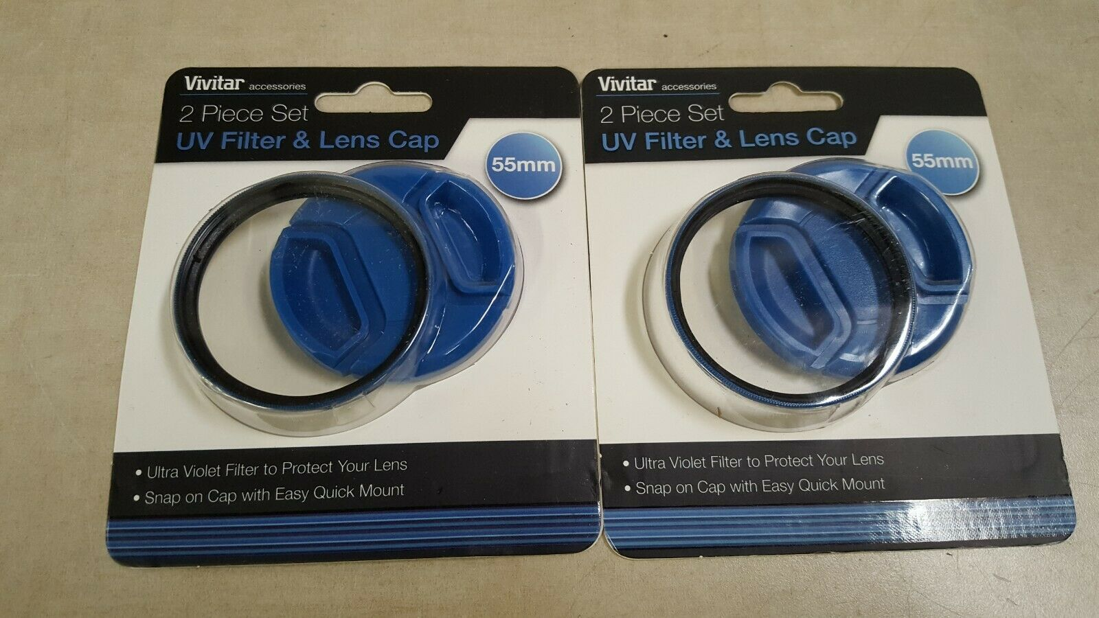 Vivitar 55mm UV Filter and Snap-On Lens Cap, Blue #VIV-FKSC-55-BL - $15.36