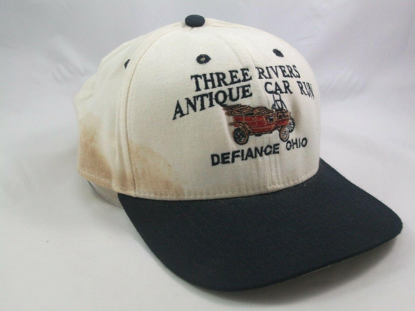 Three Rivers Antique Car Run Defiance Ohio Hat Beige Black Snapback Baseball Cap