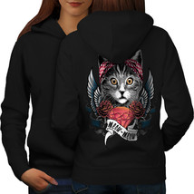 Cute Heart Wings Meow Cat Sweatshirt Hoody  Women Hoodie Back - $21.99+