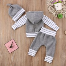 Autumn Winter Toddler Baby Boys Girls Thich Clothing Long Sleeve Hoodie + Gray P - $19.59
