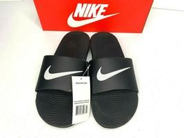 NIB SIZE 11 MEN Nike Kawa Slides Shower Slippers Sandals Logo Black Whit... - $23.99