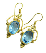 fair Blue topaz CZ Gold Plated Blue Earring genuine handcrafted US gift - $11.87