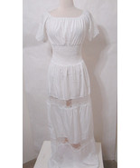Vintage Dress 70's White Off-Shoulder Lace Inset Prarie Maxi NWOT Model ... - £184.72 GBP