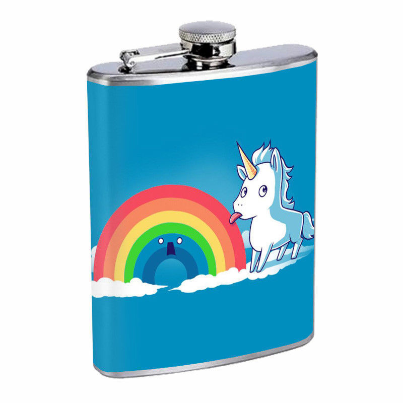 Tasty Rainbow Unicorn Em1 Flask 8oz Stainless Steel Hip Drinking Whiskey