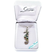 Storrs Wild Pearle Abalone Shell Seahorse Pendant w/ Silver Tone Necklace