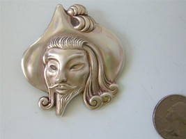 Vintage Signed TRUART Sterling Silver Face Head Brooch Pirate Corsair 1940s - $39.55