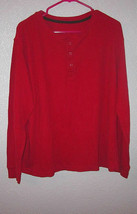 Vintage PERRY ELLIS Size 1X THERMAL Waffle T-SHIRT Red HENLEY Scoop LONG... - $14.28