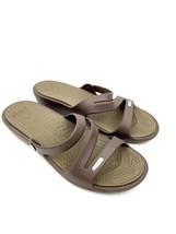 Crocs Women's Patricia Triple Strap Brown Open Toe Wedge Slide Sandals S... - $25.74