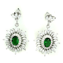 Geen Oval & Clear Marquis 5A Cubic Zirconia Sterling Silver Dangle Earrings - $49.49