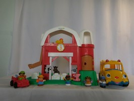 Little People Fun Sounds Barn Silo + Animals + Lil Movers School Bus Sou... - $38.63