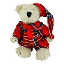 Boyds Bears Plush Teddy Red Flannel Plaid Pajamas PJs Nightcap Holiday 8... - $14.50
