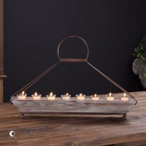 "Farmhouse Barn Decor 29"" Aged Metal Wood Candelabra Candle Holder Glass Cups - $187.00"