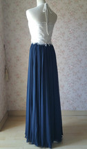 Halter Lace Navy Chiffon Skirt Long Cheap Bridesmaid Dresses Online image 4