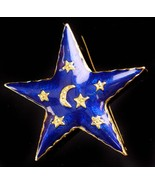 Vintage magical star brooch - Celestial pin - blue and gold enamel - hippie jewe - $75.00
