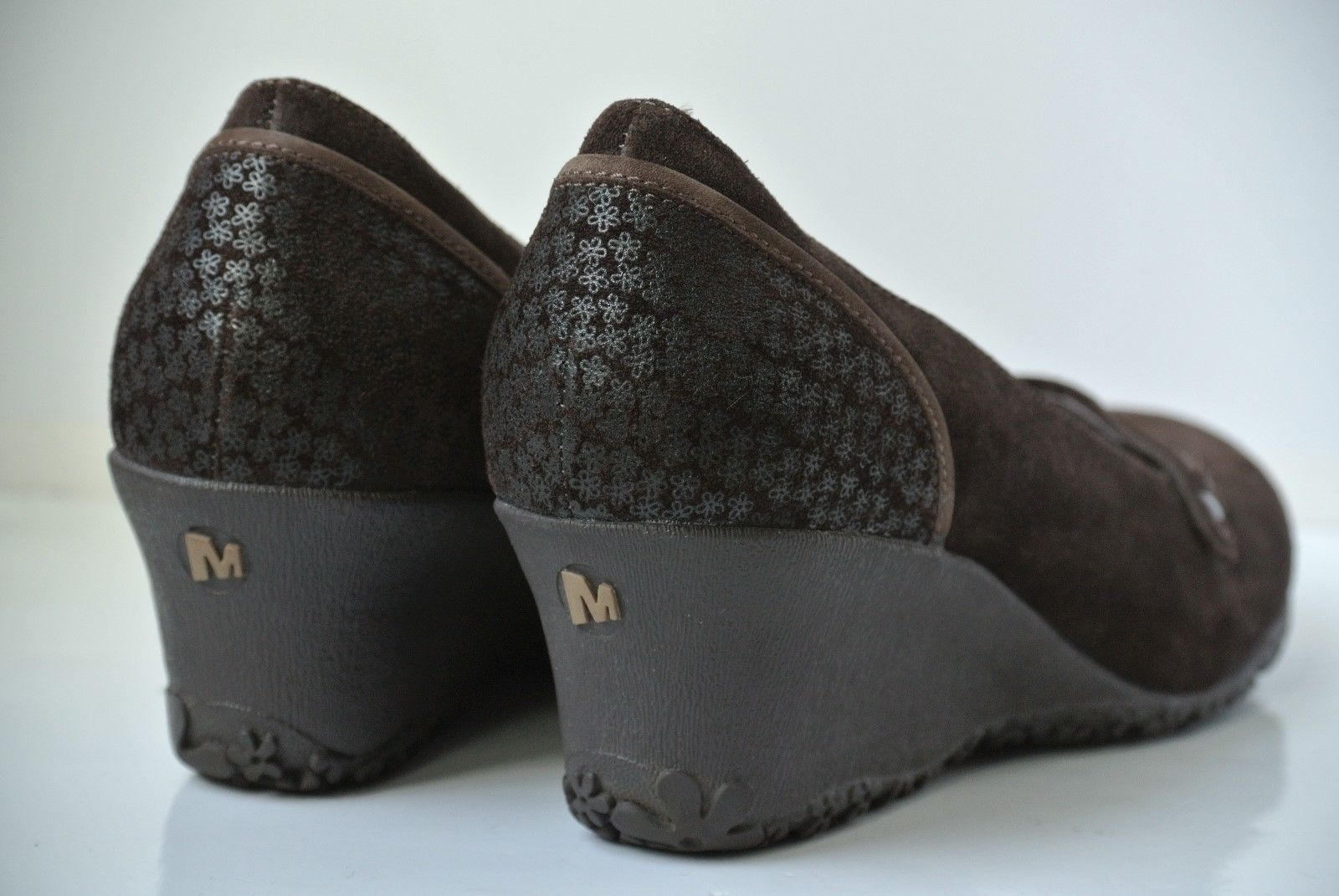Merrell Petunia Womens Sz 9 Brown Suede Leather Wedge Mary Janes Shoes NICE!!