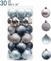 Valery Madelyn 30Ct 60Mm Winter Land Sliver Light Blue Shatterproof Chri... - $26.72