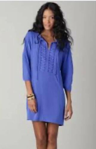 Diane von Furstenberg Silk Iliana Shift Dress Blue Embellished Neckline 2 Blue