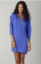 Diane von Furstenberg Silk Iliana Shift Dress Blue Embellished Neckline ... - $37.40