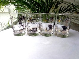 Set of 4 Libbey Horseless Carriage Juice Glasses Black/Gold - $27.71