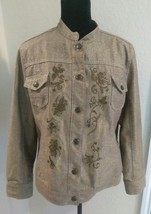 Chico's Women's Embroidered Gold Jeans Jacket Size 2 (Large) Embellished... - $30.69