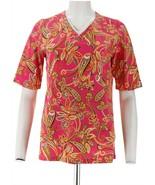 Denim & Co Perfect Jersey Paisley Print V-Neck Top Summer Pink XXS NEW A... - $16.81