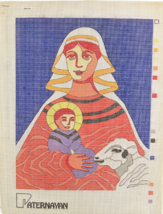 Vintage 1970's Paternayan Hand Painted Canvas Mother Mary & Baby Jesus w... - $54.45