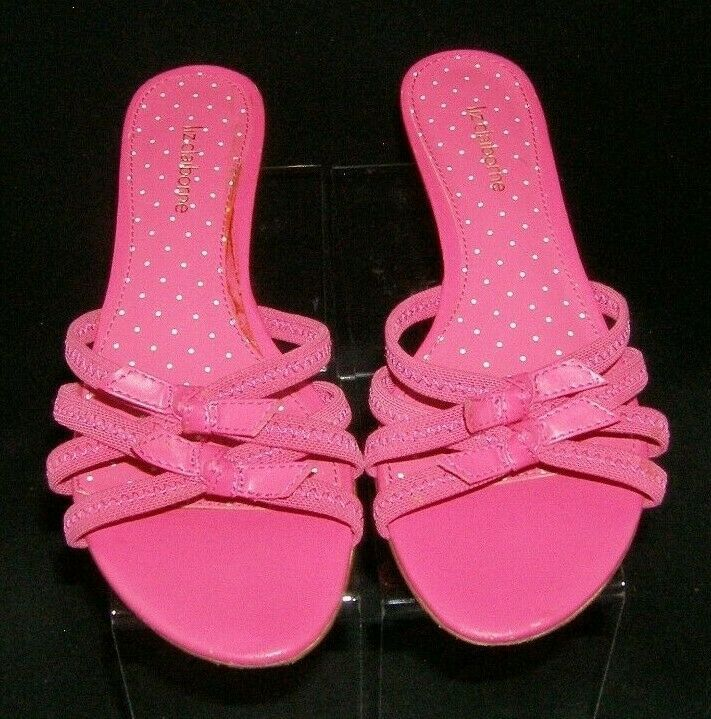 Liz Claiborne pink elastic straps bow slip on slide sandal block heels 7M 7807