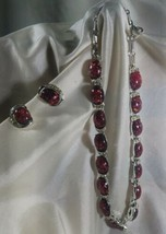 Coro Lucite Confetti Necklace and earring set Red CachebonVintage Rare 1... - $54.17