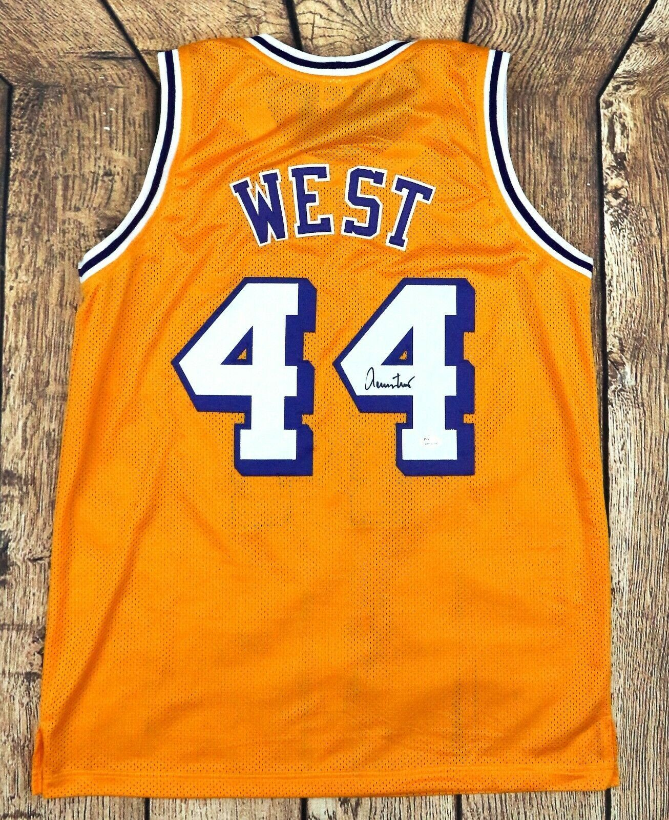 JERRY WEST AUTOGRAPHED PRO STYLE YELLOW JERSEY JSA AUTHENTICATED