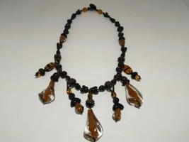 Stunning! Vintage Style Murano Art Glass Beaded Necklace Black Brown - $74.25
