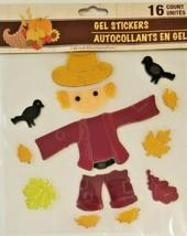 Harvest Fall Autumn GEL Sticker Window Clings ~ Scarecrow 16 Ct. w - $5.49