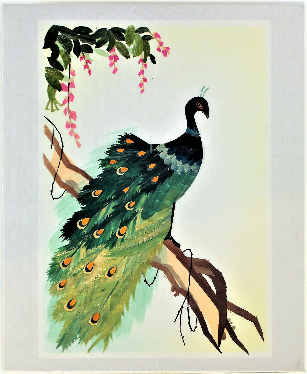 Wheat Stalk On Silk Peacock Art Hand Cut And Painted Vintage Free Shipping #2