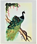 Wheat Stalk On Silk Peacock Art Hand Cut And Painted Vintage Free Shippi... - $17.81