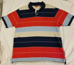 IZOD Luxury Sport Polo Shirt Multi Color Striped Blue Red Gray Mens Large - $14.69